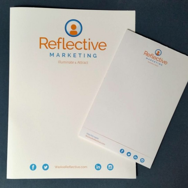 Reflective Marketing press kit and note pad